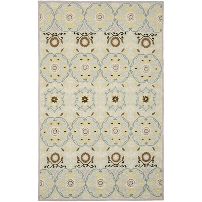 Pazar Hand-Hooked Light Blue/Ivory Area Rug Rug Size: 79 x 99