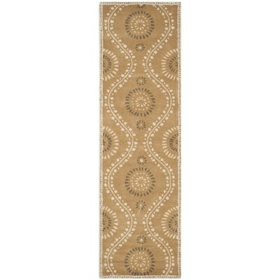 Ogee Dot Hand-Loomed Curry Area Rug Rug Size: Runner 23 x 8