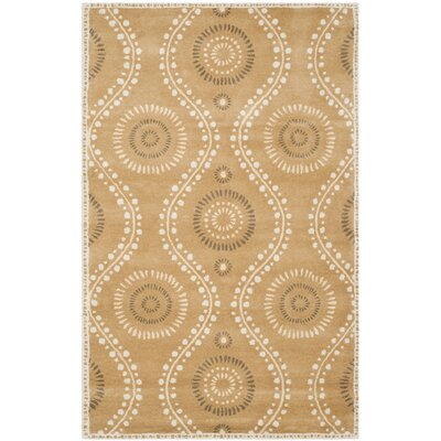 Ogee Dot Hand-Loomed Curry Area Rug Rug Size: Rectangle 4 x 6