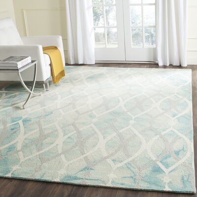 Clements Hand-Tufted Green/Ivory/Gray Area Rug Rug Size: Square 5