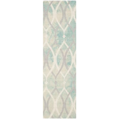 Clements Hand-Tufted Green/Ivory/Gray Area Rug Rug Size: Runner 23 x 10