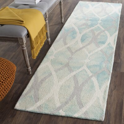 Castries Hand-Tufted Green/Ivory/Gray Area Rug Rug Size: Runner 23 x 6