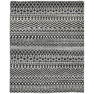 Delrico Hand-Knotted Asphalt Area Rug Rug Size: Rectangle 86 x 116