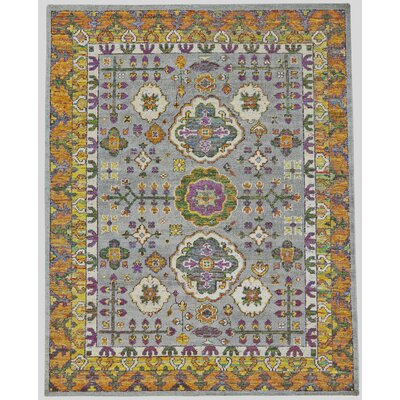 Delrico Hand-Knotted Meadow Area Rug Rug Size: Rectangle 4 x 6