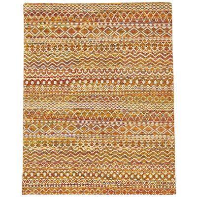 Delrico Hand-Knotted Apricot Area Rug Rug Size: Rectangle 96 x 136