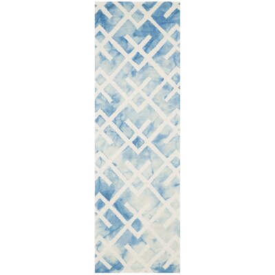 Castries Hand-Tufted Blue/Ivory Area Rug Rug Size: Runner 23 x 6