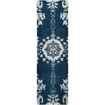 Moulouya Hand-Knotted Indigo Area Rug Rug Size: Rectangle 10 x 14