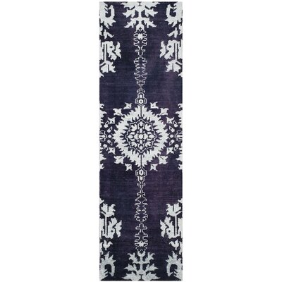 Moulouya Hand-Knotted Deep Purple Area Rug Rug Size: Runner 26 x 8