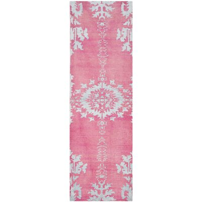 Moulouya Hand-Knotted Pink Area Rug Rug Size: Runner 26 x 12