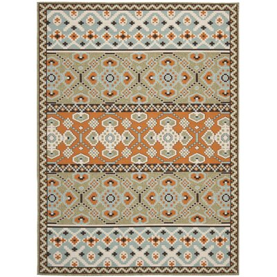 Zahr Green/Orange Area Rug Rug Size: 53 x 77
