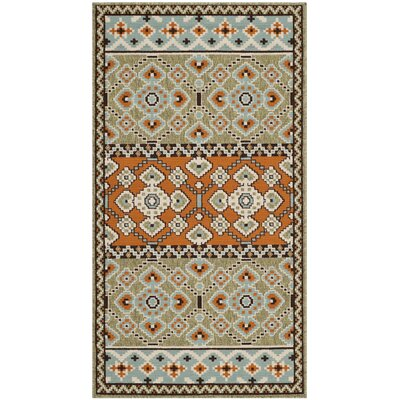 Zahr Green/Orange Area Rug Rug Size: Runner 27 x 5