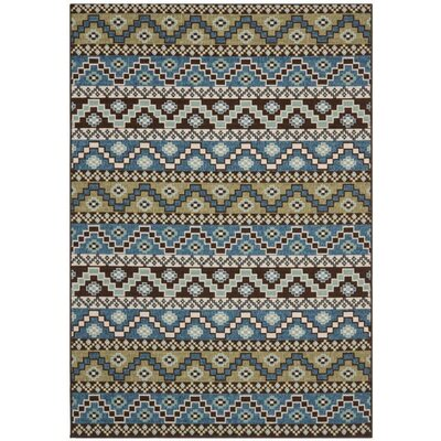 Zahr Blue/Creme Outdoor Area Rug Rug Size: Rectangle 53 x 77