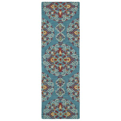 Hocca Hand-Tufted Teal Area Rug Rug Size: Runner 26 x 8