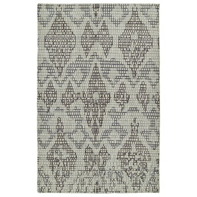 Masmoudi Hand-Knotted Grey Area Rug Rug Size: 56 x 86