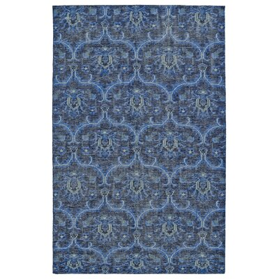 Masmoudi Hand-Knotted Blue Area Rug Rug Size: 56 x 86