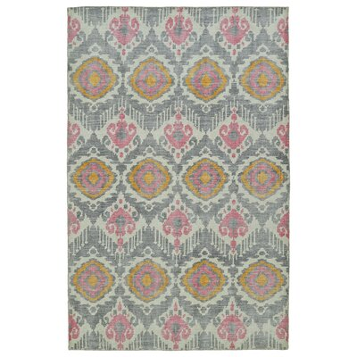 Cade Hand-Knotted Grey Area Rug Rug Size: 56 x 86