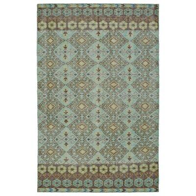Masmoudi Hand-Knotted Turquoise Area Rug Rug Size: 4 x 6