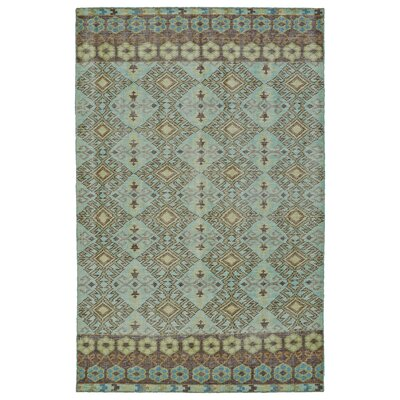 Masmoudi Hand-Knotted Turquoise Area Rug Rug Size: 56 x 86