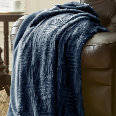 Ouasse Luxury Throw Blanket Color: Indigo