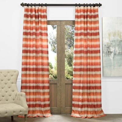 Baraka Striped Sheer Thermal Rod pocket Single Curtain Panel