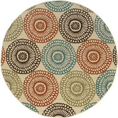 Douane Beige/Blue Indoor/Outdoor Area Rug Rug Size: Round 710
