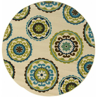 Capri Beige/Green Indoor/Outdoor Area Rug Rug Size: Round 710