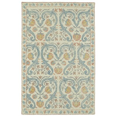 Carrillo Hand-Tufted Beige/Blue Area Rug Rug Size: 8 x 10