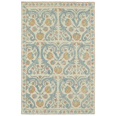Carrillo Hand-Tufted Beige/Blue Area Rug Rug Size: 2 x 3