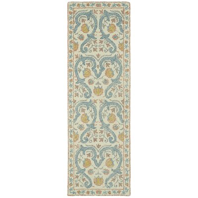 Carrillo Hand-Tufted Beige/Blue Area Rug Rug Size: Runner 26 x 8
