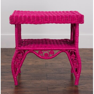 Rattan End Table Color: Pink