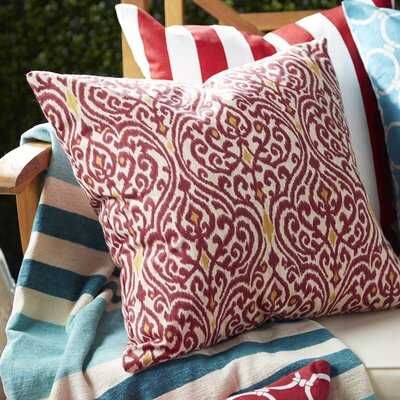 Emmaus Ikat Cotton Throw Pillow Color: Cranberry