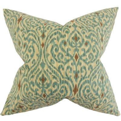 Mauritane Ikat Cotton Throw Pillow Color: Aqua Cocoa