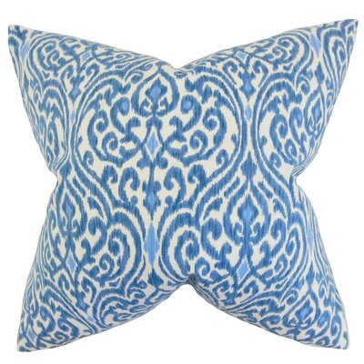 Emmaus Ikat Cotton Throw Pillow Color: Blue