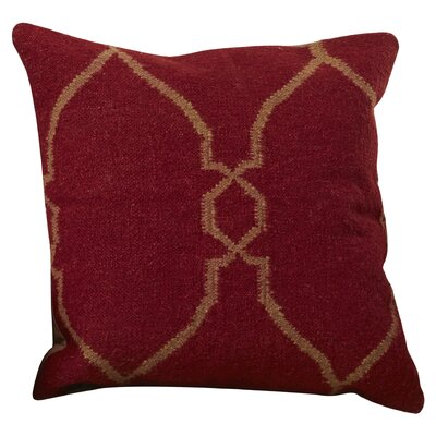 Cosima Geometric Wool Throw Pillow Size: 18 H x 18 W x 4 D, Color: Red / Tan, Filler: Polyester
