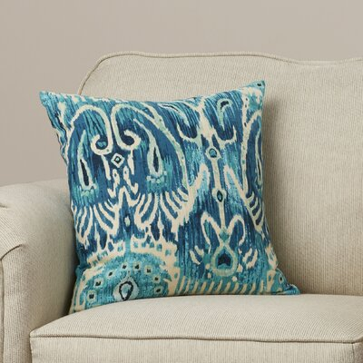Rayne Ikat Cotton Throw Pillow Color: Blue, Size: 18