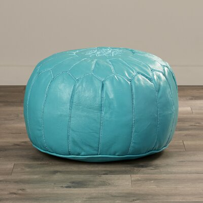 Mouassine Leather Pouf Ottoman Upholstery: Turquoise