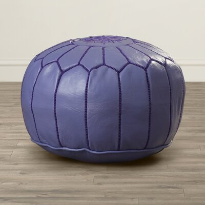 Mouassine Pouf Leather Ottoman Upholstery: Lilac