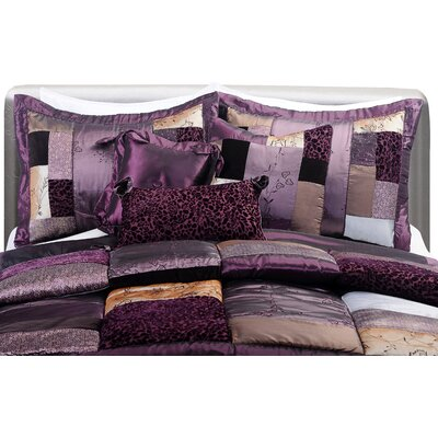 Tahar Complete Comforter Set Color: Eggplant, Size: California King