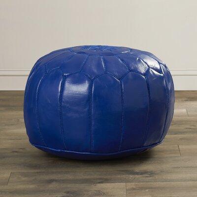 Mouassine Leather Pouf Ottoman Upholstery: Navy Blue