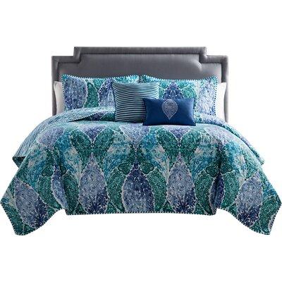 Zahr 5 Piece Quilt Set Color: Blue / Green, Size: King
