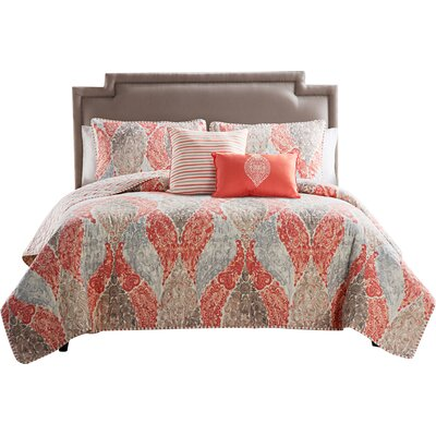 Zahr 5 Piece Quilt Set Color: Coral / Tan, Size: Queen