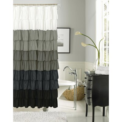 Bournazel Ruffled Shower Curtain Color: Silver / Black