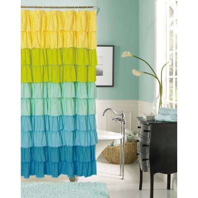 Bournazel Ruffled Shower Curtain Color: Blue