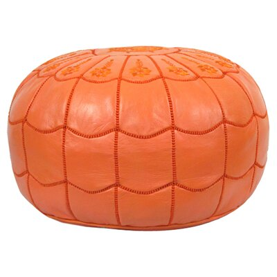 Carolos Scalloped Pouf Leather Ottoman Upholstery: Orange
