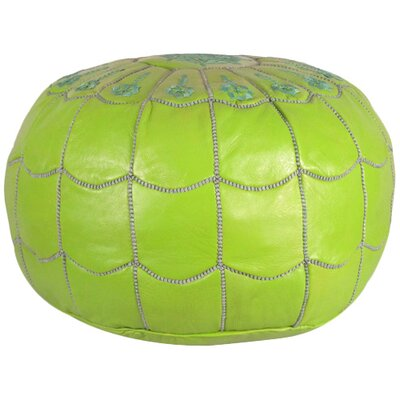 Carolos Scalloped Pouf Leather Ottoman Upholstery: Lime Green