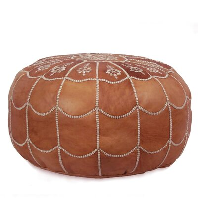 Carolos Scalloped Pouf Leather Ottoman Upholstery: Dark Tan