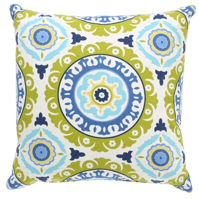 Portobello Road Henna Cotton Throw Pillow Size: 18 H x 18 W, Color: Blue