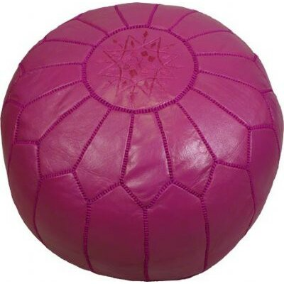 Clarkdale Embroidered Pouf Ottoman Upholstery: Dark Fuchsia