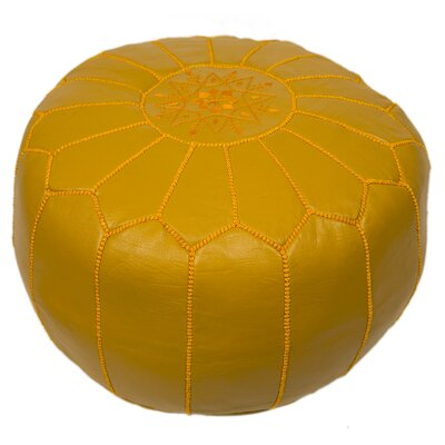 Clarkdale Embroidered Pouf Ottoman Upholstery: Mustard on Mustard