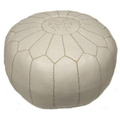 Clarkdale Embroidered Pouf Ottoman Upholstery: White on White